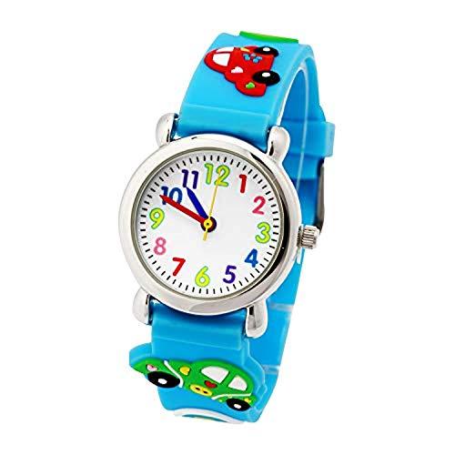 Orologio analogico per bambini, al quarzo, con batteria di lunga durata, per bambini, 3D, 3-8 anni, colore: blu Automatico - Blu