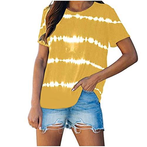 TOPSELD Damen T Shirt Rundhals Farbblock Kurzarm Oberteile Bluse Hemd Lose Sommer Tunika Top(Gelb,M)