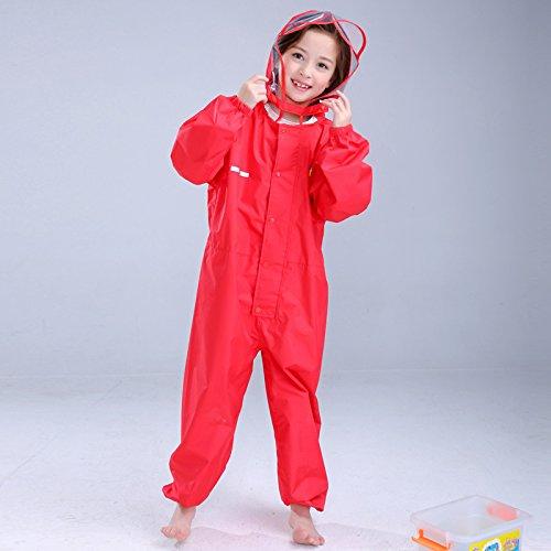 Children's 2-in-1 Button regenjas regenbroek pak, waterdichte One-Piece Hooded Dik Poncho,D,M