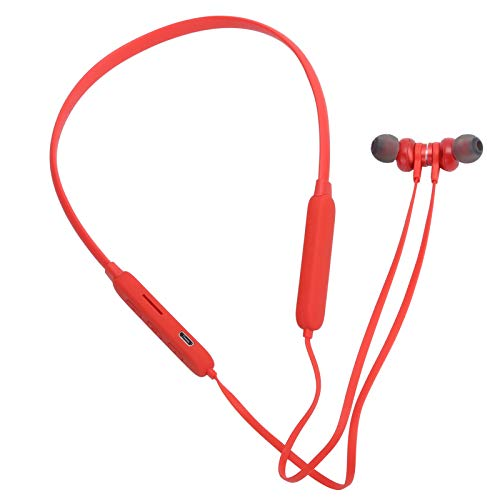 Neckband Wireless Headphones, Sports Earbuds Bluetooth 5.0 IPX5 Waterproof In-Ear Earphone for Gym/Running/Workout/Home/Exercise, 8 Hours Battery, for Universal Type Phone, Red
