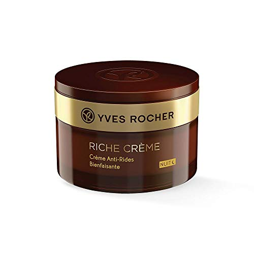 Yves Rocher RICHE CRÈME Antifalten Verwöhn-Nachtpflege, Gesichtscreme Nacht, für reife Haut, 1 x Glas-Tiegel 50 ml