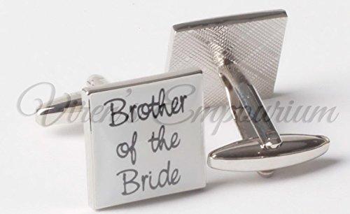 VIRENS - Gemelos de boda ovalados, para el novio o el padrino, con mensaje en inglés, metal, Blanco, Brother of the Bride
