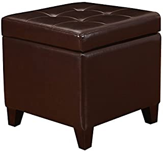 Adeco Bonded Leather Square Tufted Footstool, 18
