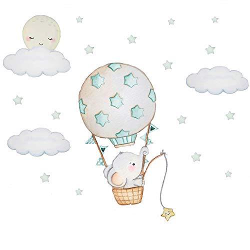 Fishing Elephant Wall Decal with Cloud Moon Star&Dream Hot Air Balloon Wall Sticker, Nursery Animal Wall Art Decor for Kids Bedroom Birthday Party Decor