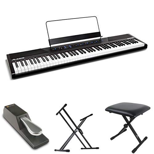Alesis 88鍵盤 初心者向け電子ピアノ フルサイズ・セミウェイト鍵盤 Recital 【アマゾン限定】フットペダル・キーボードスタンド・ピアノ椅子セット