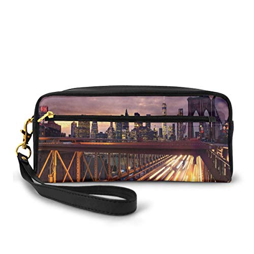 Pencil Case Pen Bag Pouch Stationary,Brooklyn Bridge at Night Car Traffic in New York United States Transport,Small Makeup Bag Coin Purse