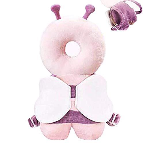 Protector de cabeza para bebé ajustable almohada de seguridad mochila cojín anticaída protección cabeza caída trasera adecuado para niños pequeños de 4 a 36 meses (rosa púrpura)