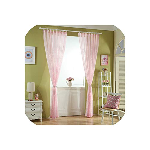 Embroidered Voiles Semi Country Style Sheer Curtains for Bedroom Living Room Kitchen Door Window Curtain Drape Panels,Pink,W600xL250cm,Pencil Pleat