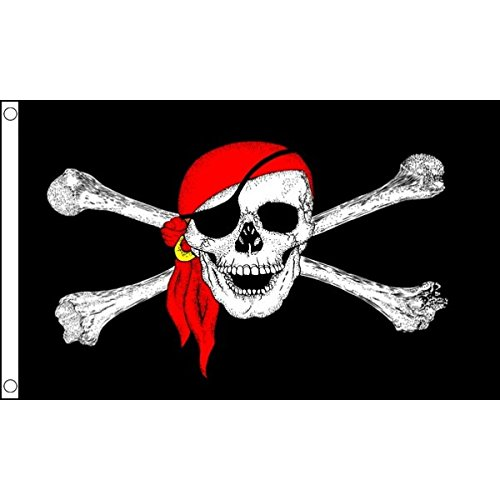 HUGE!!! 8ft x 5ft (240 x 150 cm) Pirate Bandana Skull & Crossbones 100% Polyester Material Flag Banner Ideal For Pub Club School Festival Business Party Decoration by UKFlagShop