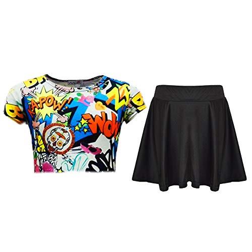 A2Z 4 Kids A2Z 4 Kids® Kinder Mädchen Comic Graffiti Scribble Leopard - Comic Top & Skirt Set 7-8