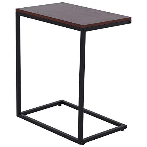 HOMCOM Beistelltisch in C-Form, Kaffeetisch, Couchtisch, Standtisch, Tisch, Metall, MDF, Braun, 56 x 36 x 68 cm