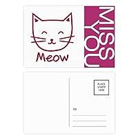 猫のにゃー単純な保護動物 ポストカードセットサンクスカード郵送側20個ミス