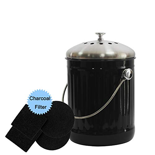 Find Bargain 4W Compost Bin for Kitchen Counter, 1.3 Gallon Compost Bin with Stainless Steel Lid for...