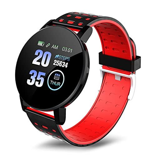SKTE Reloj Inteligente para Hombre, Impermeable, Deportivo, Redondo, para Mujer, Reloj Inteligente, Rastreador De Ejercicios para Android iOS (Color : Red)
