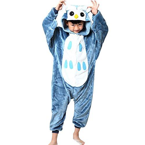 Missbleu Deguisement enfant pyjama combinaison animaux pyjama polaire enfant Hibou taille 140