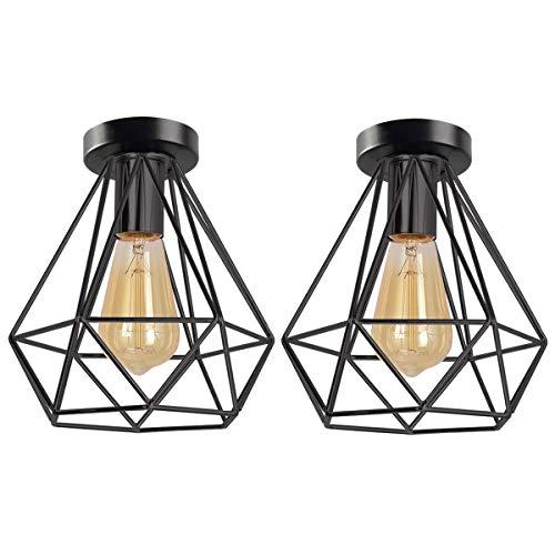 iDEGU – Juego de 2 lámparas de techo industriales negras, jaula lámpara de techo, estilo vintage, E27, plafón de metal, diseño retro, lámpara de techo, para balcón, pasillo, entrada, cocina