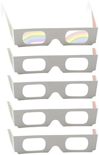 5 Regenbogenbrillen, Farbenbrillen mit Multispektralfolie - Lichtquellen in bunten Farben sehen, Prismabrillen