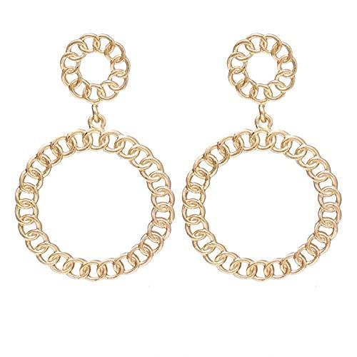FEARRIN Pendientes de Moda Anillos de Oreja de Metal Dorado círculo Cuadrado sinuoso geométrico Pendientes para Mujer niña joyería de Fiesta H41-K85-09