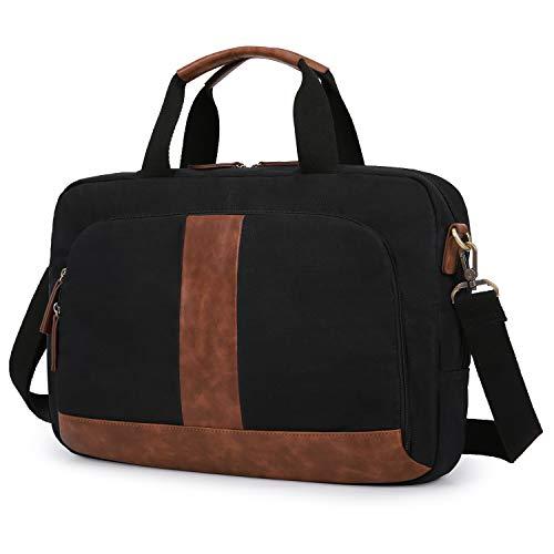 ECOSUSI Umhängetasche Herren Schultertasche Gewachste Premium Canvas Handtaschen Aktentasche Herren Laptoptasche 17-17.3 Zoll für Business, Schule, Schwarz,