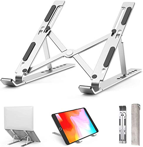 """Laptopständer,Vorrot 7 verstellbare Winkel Tabletständer,10-15,6\"""" Zoll,für MacBook,Notebook,iPad,Switch,Ergonomisches Arbeiten (Silber)"""