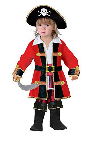 Ciao Capitano dei Pirati Costume Bambino (Taglia 2-3 Anni), Rosso, Nero