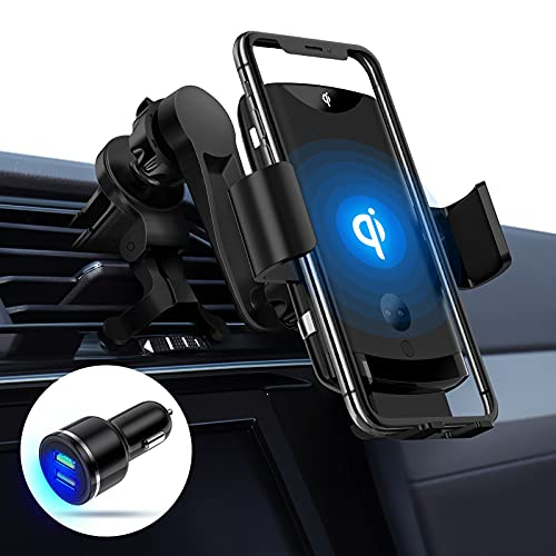 15W Qi Fast Wireless Car Charger Mount w/QC 3.0 Adapter & Supercapacitor, PLESON Infrared Sense Auto-Clamp Air Vent Car Phone Holder for iPhone 12/11 Pro Max/XR, Samsung Galaxy S20 Ultra/S10+/Note10+