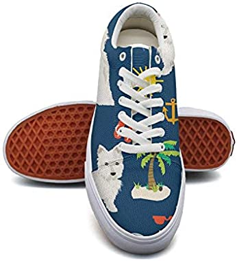 WomanWestie Dogs On Beach Palm Canvas Shoes Low-Cut Straps Funky Sneakers Suitable for Walking