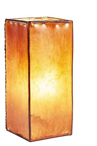 Orientalische Tischlampe Janka 30cm Lederlampe Quadratisch Lampe | Marokkanische kleine Tischlampen aus Metall, Lampenschirm aus Leder | Orientalische Dekoration aus Marokko, Farbe Braun