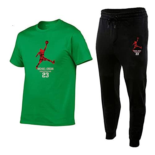 Chándal Hombre Completo Jordán 23, Manga Corta Deportiva Pantalone Corto,Camisetas Algodón Y Pantalone Chándal, Niños/Adulto 2 Piezas Trajes Green-L