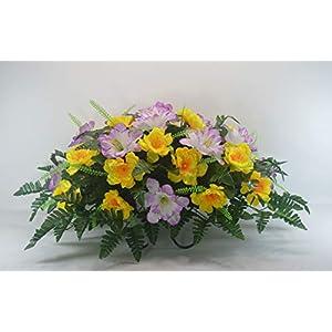 R48 Cemetery Flower Arrangement, Headstone Saddle, Grave, Tombstone Arrangement, Cemetery Flowers