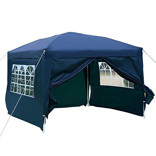 DREAMADE Tonnelle Pliante Imperméable de Jardin en Tissu d'Oxford avec Sac de Transport Fenêtre Transparante Tente de Réception Pliable 3 x 3 x 2,55M (Bleu)
