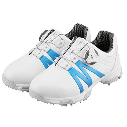CGBF- Kinder Golfschuhe ohne Spikes, leicht, atmungsaktiv, Sportschuhe, Freizeit-Sneaker, Mikrofaser, Wanderschuhe, Blau - blau - Größe: 34 EU