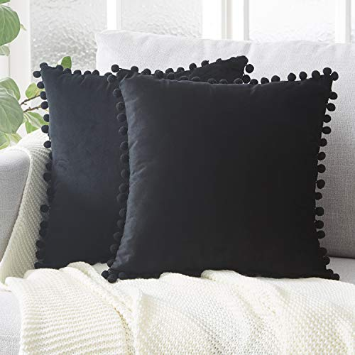 Top Finel Decorative Throw Pillow Covers with Pom Poms Soft Particles Velvet Solid Cushion Covers 18 X 18 for Couch Bedroom Car, Pack of 2, Black