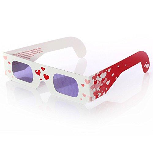 Lywedd® Herzbrille Schwärmerei - 50 Stück - Jeder Lichtpunkt wird abends zum Herz!