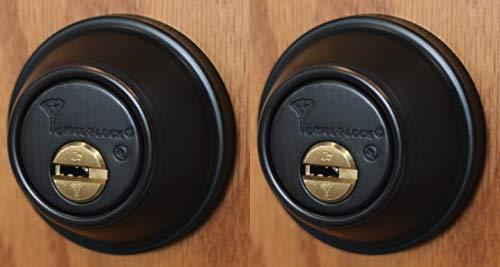 Set of 2 High Security Mul-T Lock Cronus Junior Deadbolts with 5 Keys (Both keyed Alike) (Oil Rubbed Bronze)