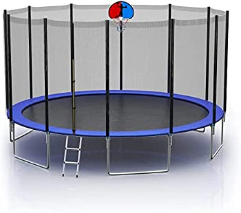 Trampoline 10 FT 15FT Outdoor Trampoline for Kids and Adult Jump Recreational Trampolines 330 LBS Weight Capacity with Safety Enclosure Net Spring Pad,Waterproof Jump Mat & Ladder