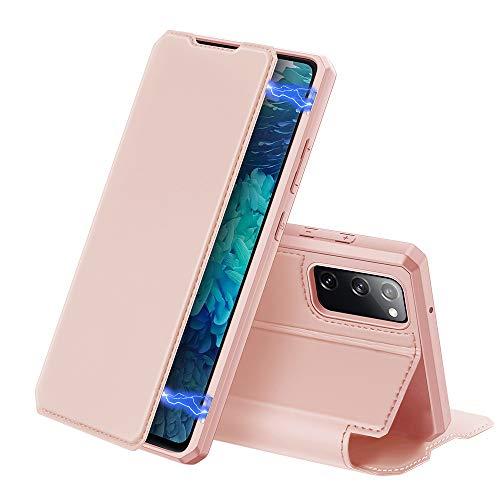 DUX DUCIS Hülle für Samsung Galaxy S20 FE, Premium Leder Magnetic Closure Flip Schutzhülle handyhülle für Samsung Galaxy S20 FE Tasche (Rosa)