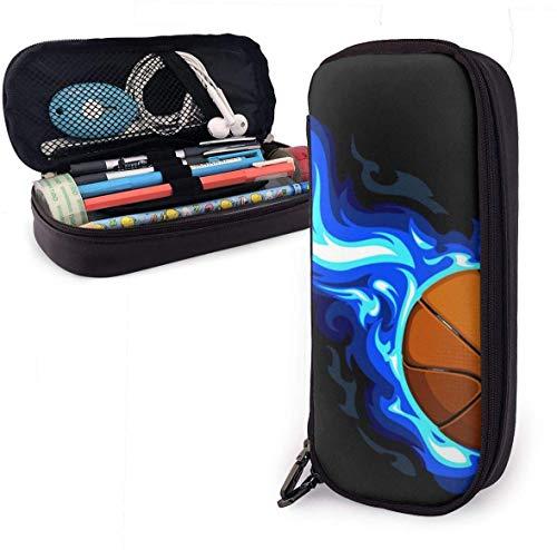 Burning Basketball - Estuche de piel para lápices de baloncesto (20,3 x 8,9 x 3,8 cm), color negro