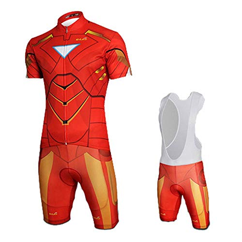 jersey Summer Marvel Avengers Spiderman para Hombre Ciclismo Combo Conjunto Race Bib Shorts Ciclismo 4-M
