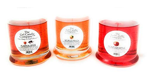3 Best Selling Fall Scents in Deco Jar Candles by The Gel Candle Company™ Up To 120 Hours PUMPKIN SPICE, GEORIGA PEACH AND MCINTOSH APPLE