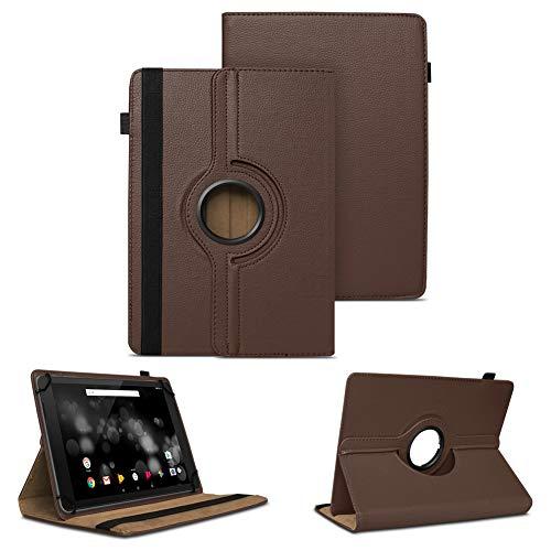 NAUC Tablet Schutzhülle für TrekStor Primetab P10 Hülle Tasche Standfunktion 360° Drehbar Cover Hülle Universal Schutzhülle, Farben:Braun
