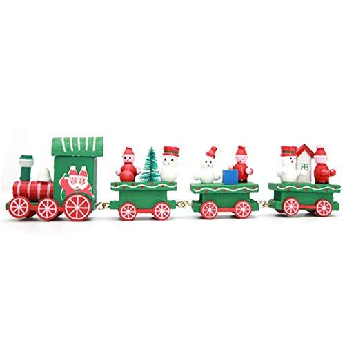 Ornements Mignons Mini-train En Bois Pour Enfants Jouets Cadeaux Pour La Fête De Noël Jardin D'enfants Décoration (vert)