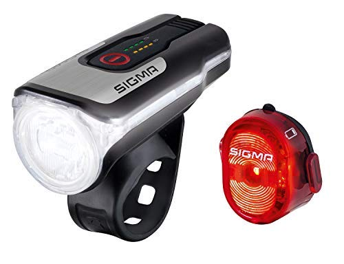 Sigma Sport - Set fari a LED Aura 80 e Nugget II | Fari per Bicicletta Anteriori e Posteriori a Batteria, omologati Secondo Il regolamento StVZO