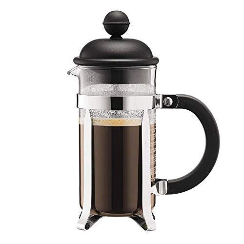 JINKEBIN Coffee Press Glass Ręcznie Punch Ekspres do kawy Mały Przenośny Filtr Czajniczek Mała pojemność Urządzenie Ekspres do kawy (Kolor: czarny, Rozmiar: 350ml) Dzbanek do kawy