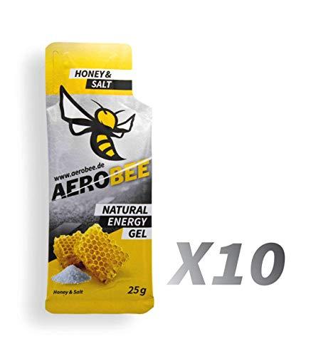 10 Pack AEROBEE Energy Gel | Honey & Salt | Natürliches Energie Gel für Ausdauersport | Schnelle und dauerhafte Energie | Sehr bekömmlich | 10 Gels x 25g