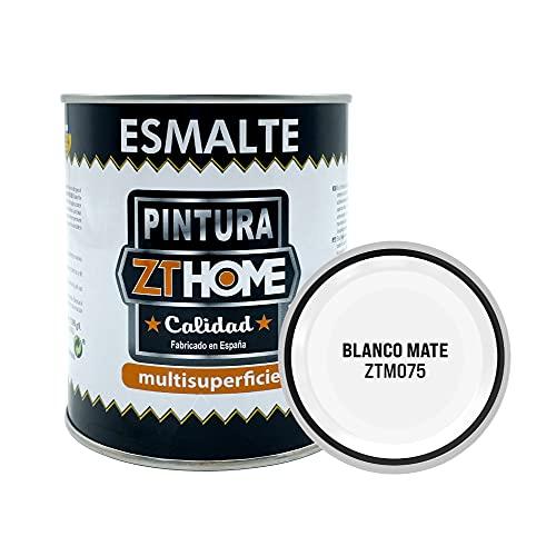 Pintura Blanco Mate Interior / Exterior / Multisuperfie para azulejos baño cocina , madera, puertas, metal, radiadores, muebles, ceramica / Esmalte sintentico en 375 ml