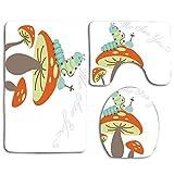 Fumar cachimba Caterpillar sentado en una seta y preguntar quién es usted Baño Conjuntos de alfombras de baño Alfombrilla antideslizante de 3 piezas Alfombra de pedestal + Tapa Tapa de inodoro + Alfom