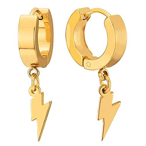 Color Oro Rayo Colgantes, Pendientes del Aro, Pendientes para Hombres Mujer, Acero Inoxidable