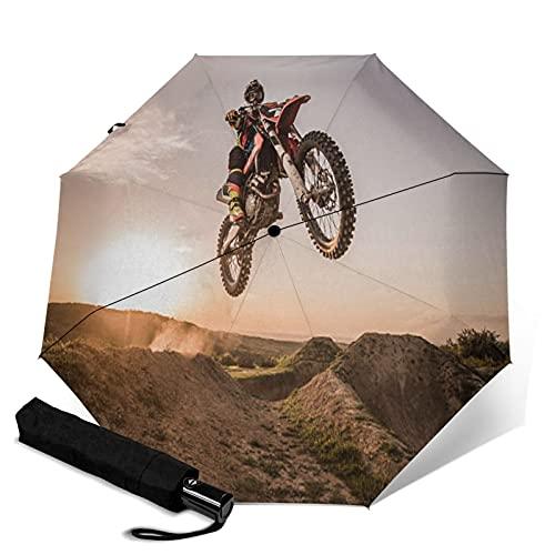 Paraguas automático de tres pliegues para motocross, resistente y duradero, resistente y duradero, puede abrir y cerrar automáticamente protección UV paraguas de viaje plegable