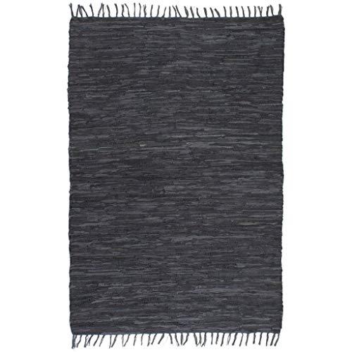 vidaXL Teppich Chindi Bereich Handgewebt Leder 120x170cm Grau Lederteppich